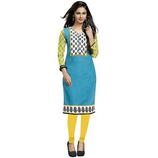 Indian Wear Online Turquoise Cotton Printed Unstitched Kurti Material