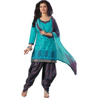 Indian Wear Online Blue Cotton Dress Material (Unstitched)