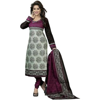 Indian Wear Online Grey Cotton Printed Un-Stiched Dress Material (Unstitched)