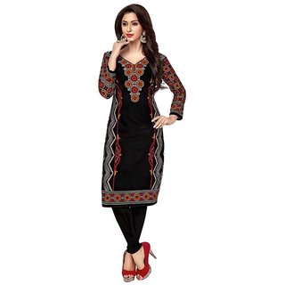 Indian Wear Online Black Cotton Printed Unstitched Kurti Material