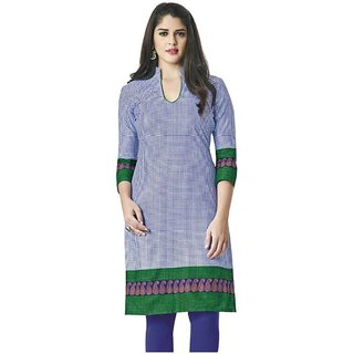 Indian Wear Online Purple Cotton Printed Unstitched Kurti Material