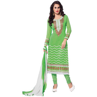 Indian Wear Online Green Faux Georgette Dress Material (Unstitched)