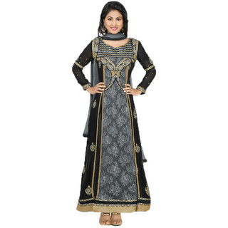 Indian Wear Online Black Faux Georgette Dress Material (Unstitched)