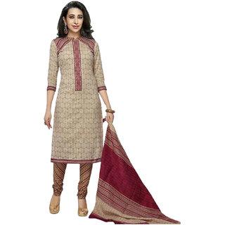 Party Wear Dresses Beige Cotton Dress Material (Unstitched)