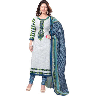 Indian Wear Online White Cotton Dress Material (Unstitched)
