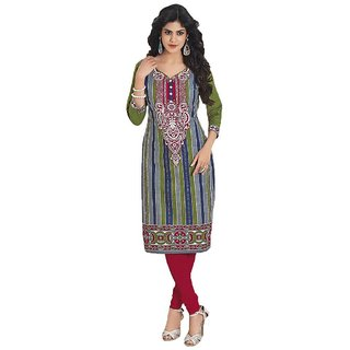 Party Wear Dresses Multi Cotton Printed Unstitched Kurti Material