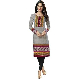 Party Wear Dresses Grey Cotton Printed Unstitched Kurti Material
