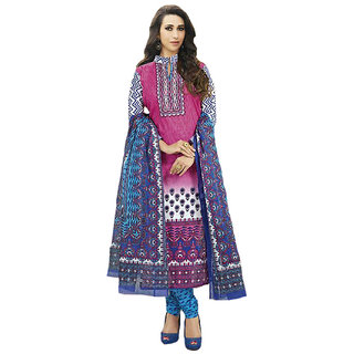 Indian Wear Online Pink Cotton Dress Material (Unstitched)