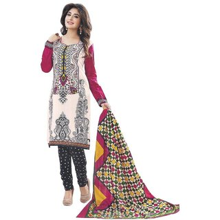 Indian Wear Online Cream Printed Cotton Un-Stiched Dress Material (Unstitched)