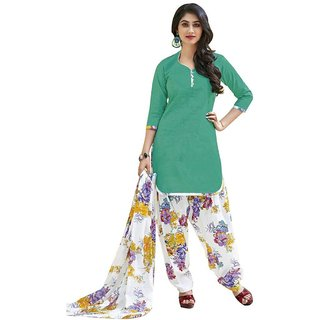 Indian Wear Online Green Printed Cotton Un-Stiched Dress Material (Unstitched)