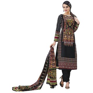 Indian Wear Online Black Cotton Printed Unstitched Dress Material