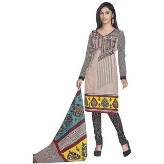 Indian Wear Online Beige Cotton Printed Un-Stiched Dress Material (Unstitched)