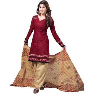 8a83f2b6ec Buy Indian Wear Online Brown Cotton Dress Material (Unstitched ...