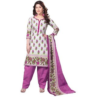 Indian Wear Online White Cotton Printed Un-Stiched Dress Material (Unstitched)