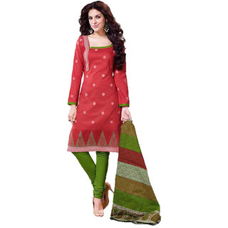 Indian Wear Online Red Cotton Dress Material (Unstitched)