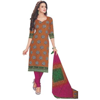 Indian Wear Online Rust Cotton Printed Un-Stiched Dress Material (Unstitched)
