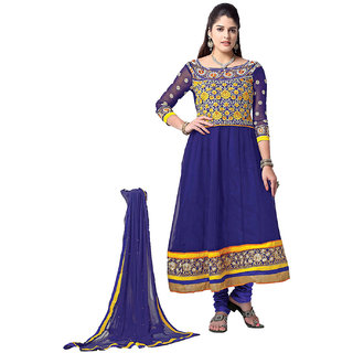 Indian Wear Online Blue Faux Georgette Dress Material (Unstitched)