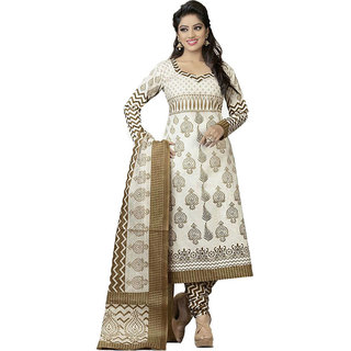 IndianWearOnline White Cotton Dress Material (Unstitched)