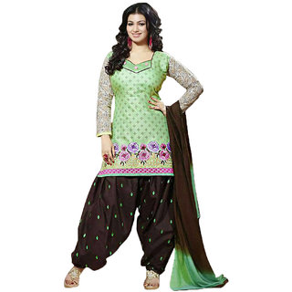 Indian Wear Online Green Cotton Dress Material (Unstitched)