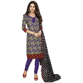 Indian Wear Online Purple Cotton Dress Material (Unstitched)