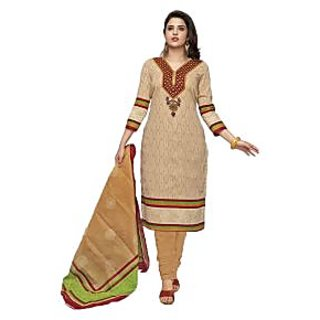 Indian Wear Online Beige Cotton Dress Material (Unstitched)