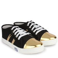 Do Bhai Women's Gold & Black Sneakers