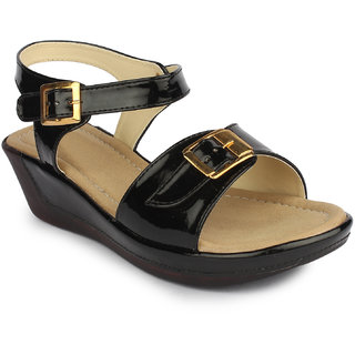 Do Bhai Women's Black Wedges