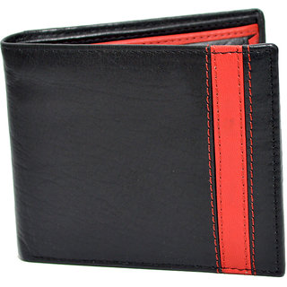 Knott Black/Red Fashionable Leather Wallet for Men