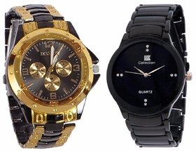 Rosra Black And IIk Colloction Blacck Men Watches combo of 2 by Hans
