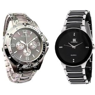 IIK Silver and Rosra Silver New Casual Analog Watch For men Combo of 2 By HansHouse