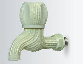 PVC Delux Bib Cock 15mm With Metal Nipple White