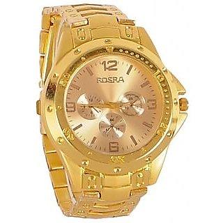 Rosra Round Dial Golden Metal Strap Mens Quartz Watch