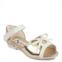 N Five Flat Velcro Closure Gold Casual Sandals For Girl