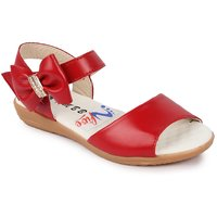 N Five Flat Velcro Closure Red Sandals For Girls!