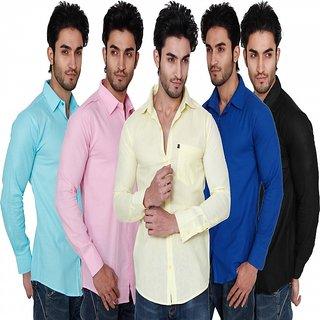 Nandini Plain Slim Fit Casual Shirts for Men (Combo of 5)