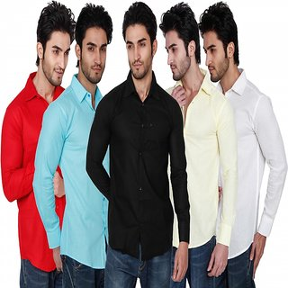 Black Bee Multi color Solid Slim Fit Casual Poly-Cotton Shirts Combo of 5