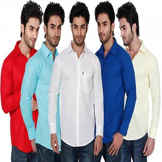 Black Bee Men's  Slim Fit Casual Poly-Cotton Shirt Combo of 5