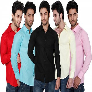 Black Bee Full Sleeves Cut Away Casual Poly-Cotton Shirts For Men Pack Of 5