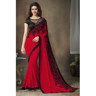 Red And Black Chain Embroidered sequence Work Georgette Partywear  Saree with Blouse