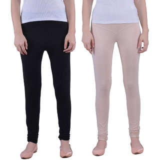 Dollar Missy Combo Of 2 Black And Skin Color Stretchy, Fancy And Comfortable Churidar Leggings.