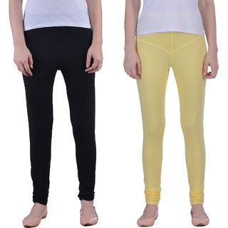 Dollar Missy Combo Of 2 Black And Yellow Color Stretchy, Fancy And Comfortable Churidar Leggings.