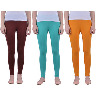 Dollar Missy Women'S Combo Of 3 Cotton Slim Fit M Brown,Sea Green And Mustard  Ankle Length Leggings