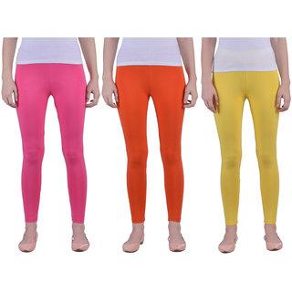 Dollar Missy Women'S Combo Of 3 Cotton Slim Fit Romantic Rani,Mango And Yellow  Ankle Length Leggings