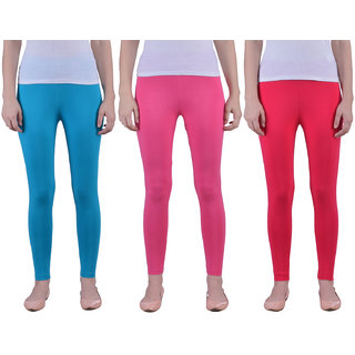 Dollar Missy Women'S Combo Of 3 Cotton Slim Fit Sea Blue,Romantic Rani And Red  Ankle Length Leggings