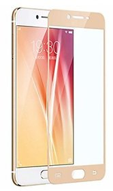 ACCWORLD Full Screen Cover Coloured Tempered Glass Screen Protector for Vivo V5 - (Gold)