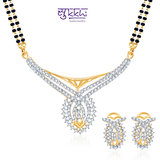 Sukkhi Classic Cz Gold And Rhodium Plated Mangalsutra Set
