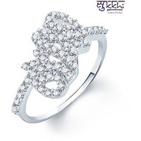 Sukkhi White Cubic Zirconia (CZ) Party Alloy Rhodium Plated Contemporary Ring