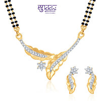 Meia Dazzling Cz Gold And Rhodium Plated Mangalsutra Set