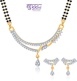 Sukkhi Amazing Cz Gold And Rhodium Plated Mangalsutra Set