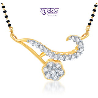 Sukkhi Delightly Crafted Cz Gold And Rhodium Plated Mangalsutra Pendant
